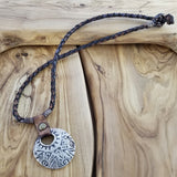 Boho Pewter and Leather Necklace (4095786385462)