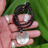 Boho Handcrafted Leather Necklace with Silver Plated Charm - Unisex Fashion Jewelery with Charm