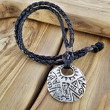 Boho Pewter and Leather Necklace (4095793266742)