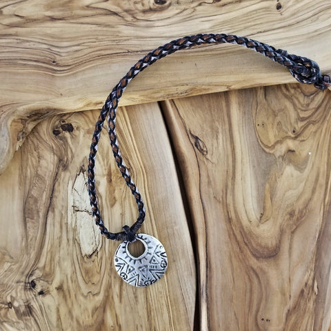Boho Pewter and Leather Necklace (4095794610230)