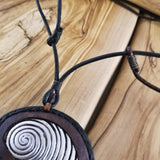 Boho Pewter and Leather Necklace (4095893372982)
