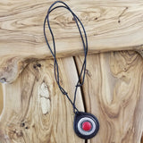 Boho Leather Pendant Necklace with Red Agate Stone and Leather (4095921848374)