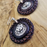 Boho Pewter and Leather Earrings (4096015892534)
