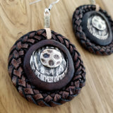 Boho Pewter and Leather Earrings (4096019497014)