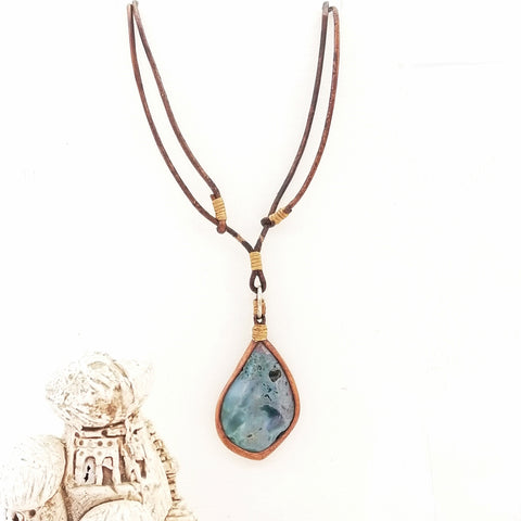 Boho Leather Necklace with Tourmalinated Quartz Setting (4429791789110)