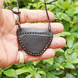 Boho Leather Necklace with White Agate Setting (4430282883126)