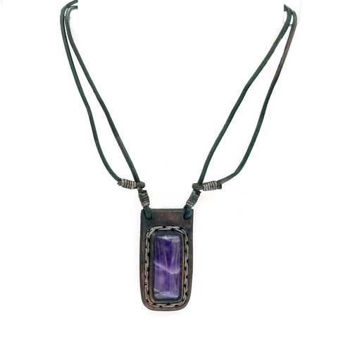 Boho Leather Necklace with Amethyst Stone Setting (4431284633654)