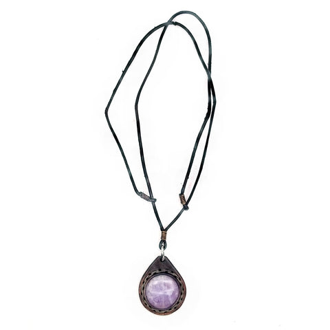 Boho Leather Necklace with Amethyst Stone Setting (4431290368054)
