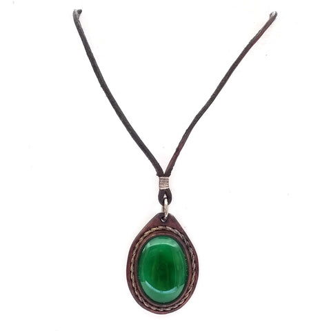Boho Leather Necklace with Jade Stone Setting (4431410790454)