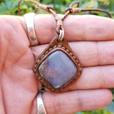 Boho Leather Necklace with Moss Agate Stone Setting (4431423799350)