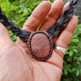 Boho Leather Choker with Agate Stone (4431438544950)