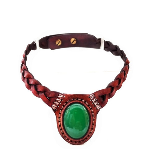 Boho Leather Choker with Jade Stone (4431446933558)