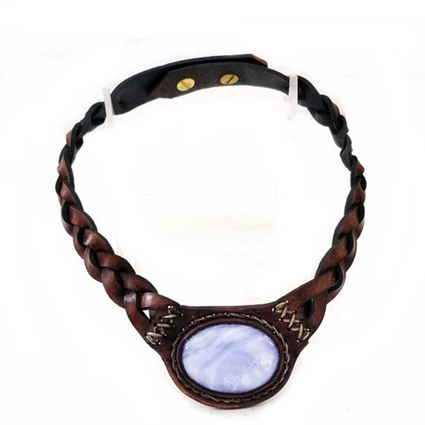 Boho Leather Choker with  White Agate Stone (4431449489462)