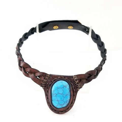 Boho Leather Choker with Turquoise Stone (4431460270134)