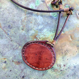 Handcrafted Boho Brown Leather Necklace with Turquoise Stone setting - Quality Unisex Fashion Leather Jewelery