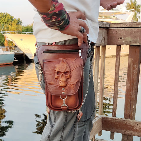 Handcrafted Genuine Vegetal Leather Rusty Brown  Drop Leg Bag –Skull Design Leather Fanny Pack – Leather Hip Rider Bag