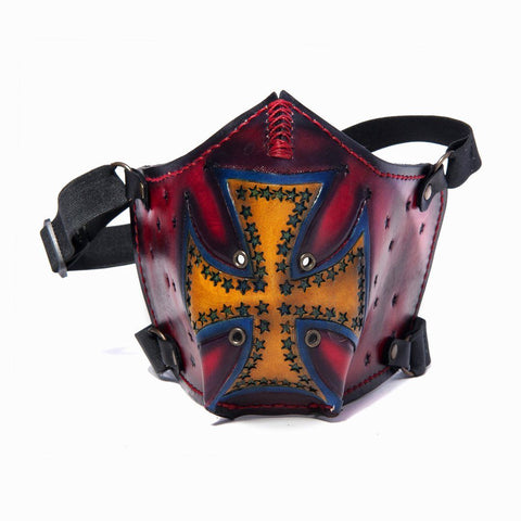 Hand Painted Vegetan Leather Bikers Mask Biker Mask The Ottoman Collection  (1912376721462)