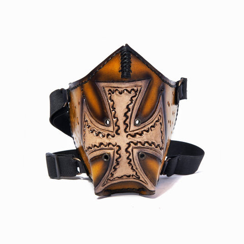 Hand Painted Vegetan Leather Bikers Mask Biker Mask Balance Headwear  (1912376590390)