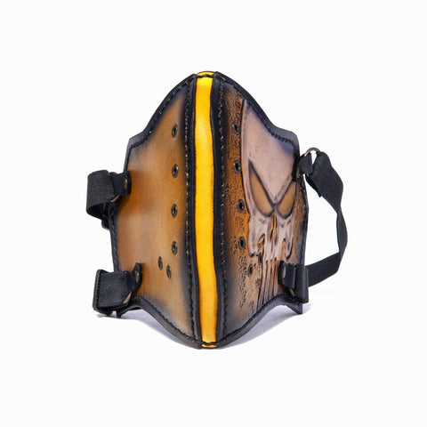 Hand Painted Vegetan Leather Bikers Mask Biker Mask The Ottoman Collection  (1912376131638)