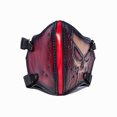 Hand Painted Vegetan Leather Bikers Mask Biker Mask The Ottoman Collection  (1912376098870)