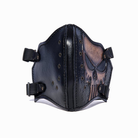 Hand Painted Vegetan Leather Bikers Mask Biker Mask The Ottoman Collection  (1912375967798)