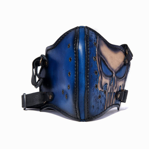 Hand Painted Vegetan Leather Bikers Mask Biker Mask The Ottoman Collection  (1912375902262)
