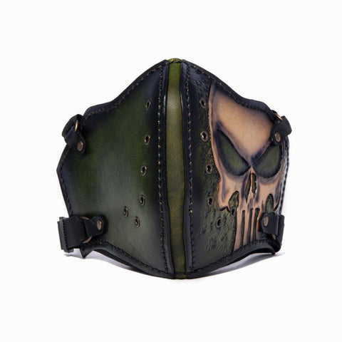 Hand Painted Vegetan Leather Bikers Mask Biker Mask The Ottoman Collection  (1912375803958)