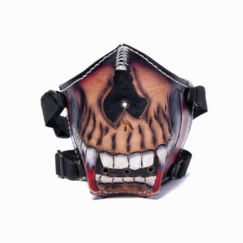 Hand Painted Vegetan Leather Bikers Mask Biker Mask The Ottoman Collection  (1912375607350)