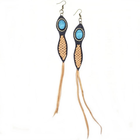 Boho Leather Earring with Turquoise Stone Setting (4431511158838)