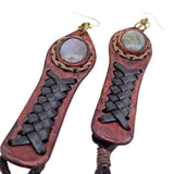 Boho Leather Earring with Amethyst Stone Setting (4431517974582)