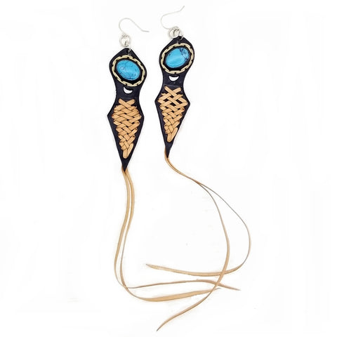 Boho Leather Earring with Turquoise Stone Setting (4431547957302)