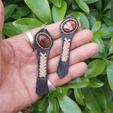 Boho Leather Earring with Brown Agate Stone Setting (4431553757238)