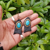 Boho Leather Earring with Turquoise Stone Setting (4431574073398)