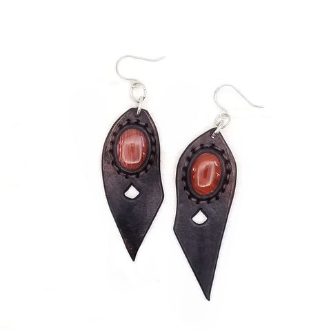 Boho Leather Earring with Brown Agate Stone Setting (4431579545654)