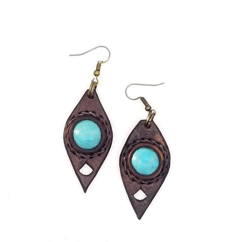 Boho Leather Earring with Turquoise Stone Setting (4431585574966)
