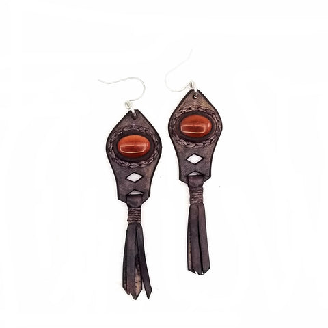 Boho Leather Earring with Brown Agate Stone Setting (4431599534134)