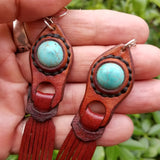 Boho Leather Earring with Turquoise Stone Setting (4431589867574)