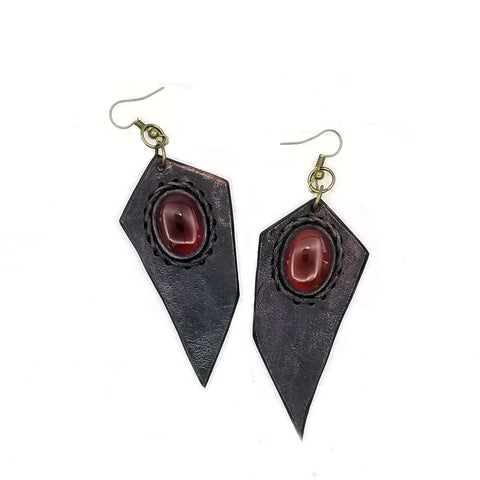 Boho Leather Earring with Red Agate Stone (4431600353334)