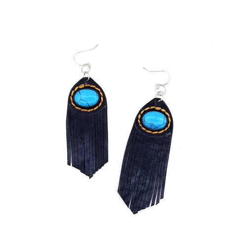 Leather Earring with Turquoise Stone Setting (4436963590198)