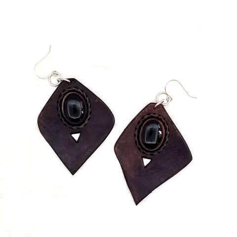 Boho Leather Earing with Onyx Setting (4436964769846)