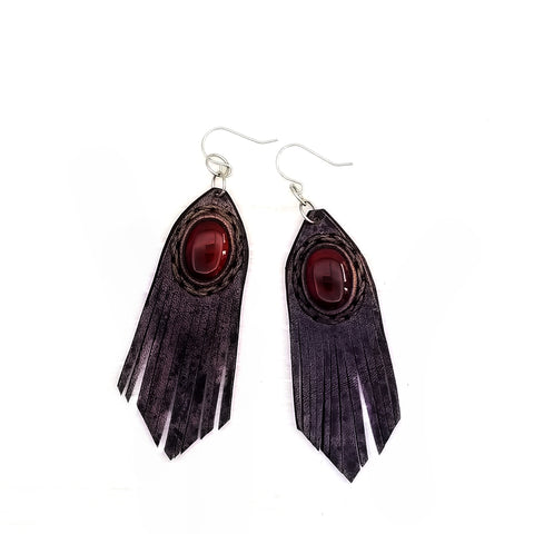 Boho Leather Earring with Red Agate Stone (4436968669238)