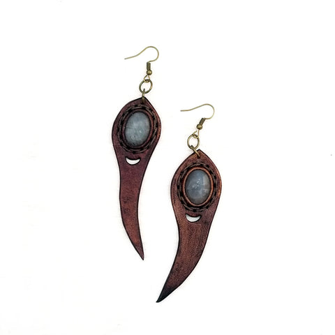 Boho Leather Earring with Amethyst Stone Setting (4436973158454)