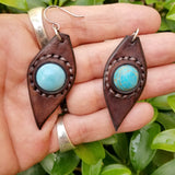 Boho Leather Earring with Turquoise Stone Setting (4436975747126)
