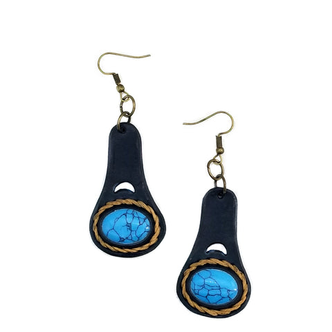 Boho Leather Earring with Turquoise Stone Setting (4436979220534)