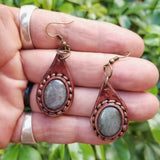 Boho Leather Earring with Amethyst Stone Setting (4436980203574)