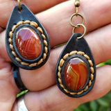 Boho Leather Earring with Brown Agate Stone Setting (4436986658870)