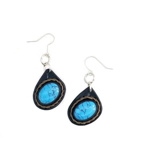 Boho Leather Earring with Turquoise Stone Setting (4437003108406)