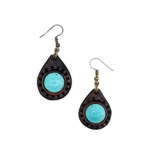 Boho Leather Earring with Turquoise Stone Setting (4437048426550)