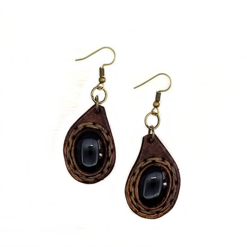 Boho Leather Earing with Onyx Setting (4437070544950)