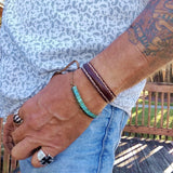 Boho Handcrafted Genuine Vegetal Leather Brown Bracelet Cuff - Adjustable Unisex Leather Fashion Jewelry Active